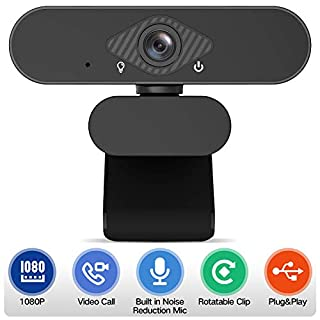 Webcam 1080P with Microphone,Pro Web Cameras with Dual Digital Microphone,HD 1080P Web Camera USB Coputer Camera Face Cam for PC Laptop Desktop Mac Video Calling Conferencing with Microphone Mic