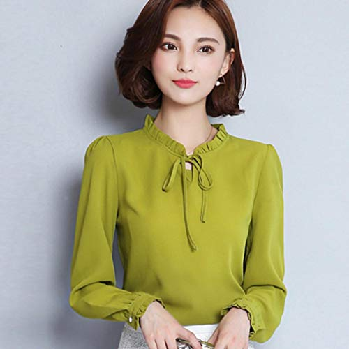 Camicie Con Papillon Da Volant shirt Verde Abcone Lunghe Colletto Casual Pullover Elegante T donna Felpa Camicette Tops Maniche Autunno wYtxwqpnZB