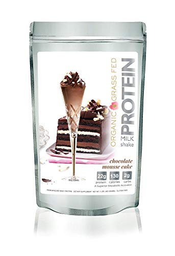 (NEW: Protein Milkshake Organic Chocolate Mousse Cake Protein Powder, Low Carb, Grass Fed Whey Protein - Keto (22g Protein,2g Carb,130 Cal) Gluten Free, Non-GMO, Naturally Sweetened - 1 Pound,15 Servin)