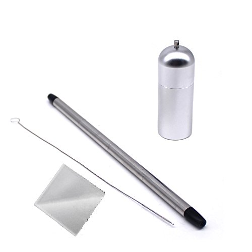T-304 Tubing - Rester 304 Stainless Steel Collapsible Straw,With Keychain Hole,Reusable and Foldable Drinking Straw For Travel and Household (Silver)