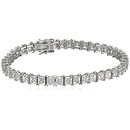 "top Platinum or Gold-Plated Sterling Silver Princess-Cut Swarovski Zirconia Tennis Bracelet (5mm), 7.25"" save more"