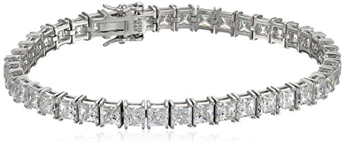 Platinum Plated Silver Princess-Cut Tennis Bracelet made with Swarovski Zirconia (5mm), 7.25
