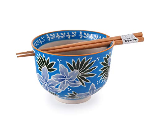 Quality Japanese Ramen Udon Noodle Bowl with Chopsticks Gift Set 5 Inch Diameter (Blue Flower)