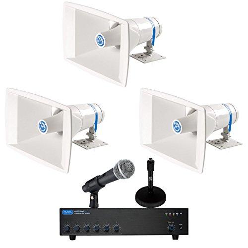 (Stadium Sound System 200 Watts, 6 Input Mixer Amplifier, 40 Watt Paging Horns, Pure Resonance Microphone)