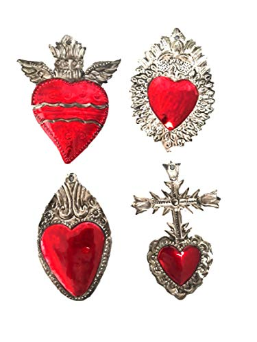 Milagros Charms - Tin Painted Sacred Heart Ornaments - Mexican Art (Set of 4) - Large - Milagros Gris y Rojo Grandes (Mexican Cross For Wall)