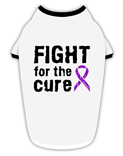 TooLoud Fight for The Cure - Purple Ribbon Alzheimers Disease Cotton Dog Shirt White with Black Medium