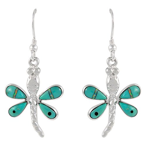 Dragonfly Earrings 925 Sterling Silver & Genuine Turquoise Dragonflies (Turquoise Dragon)