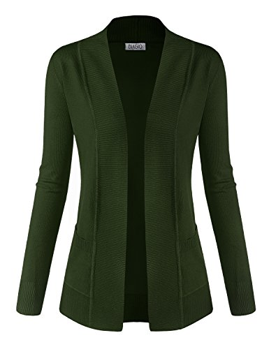 BIADANI Women Classic Soft Long Sleeve Open Front Cardigan Sweater Olive (Classic Olive Green)