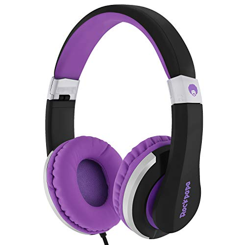 - RockPapa I22 Foldable Adjustable On Ear Headphones with Microphone for Kids/Adults iPhone iPad iPod Tablets MP3/4 DVD Computer Black/Purple