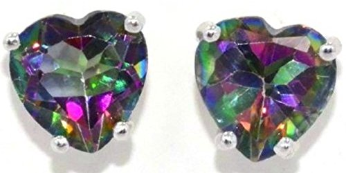 2 Carat Natural Mystic Topaz Heart Stud Earrings .925 Sterling Silver Rhodium ()