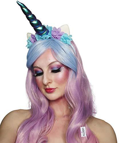 Unicorn Costume Wig (Girls Unicorn Wig + Unicorn Headband Princess Rainbow Costume Party Kids Adult)