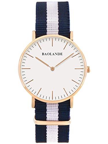 Alienwork-Classic-StMawes-Quarz-Armbanduhr-elegant-Quarzuhr-Uhr-modisch-Zeitloses-Design-klassisch-rose-gold-blau-Nylon-U04819G-02