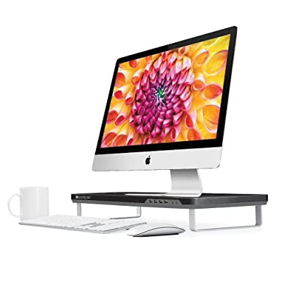 Satechi F3 Smart Monitor Stand with 4 USB 3.0 Ports and Headphone/Microphone Extension Ports - Compatible with 21.5-Inch iMac, MacBook Pro, MacBook, Dell, PC, Samsung and More (Black)