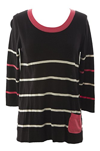 August Silk Women's Striped 3/4 Sleeve Sweater Medium Black Combo ()