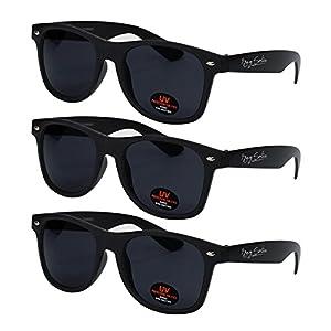 Wayfarer Sunglasses for Men, Women & Kids by Ray Solée- 3 Pack of Tinted Lenses with UVA & UVB Protection (Matte Black, Black)