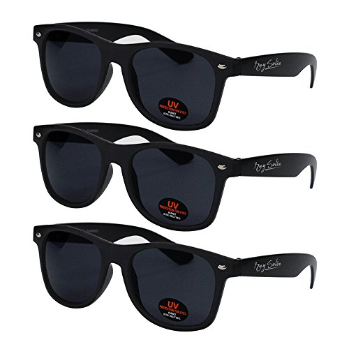 Sunglasses for Men, Women & Kids by Ray Solée- 3 Pack of Tinted Lenses with UVA & UVB Protection (Matte Black, Black)