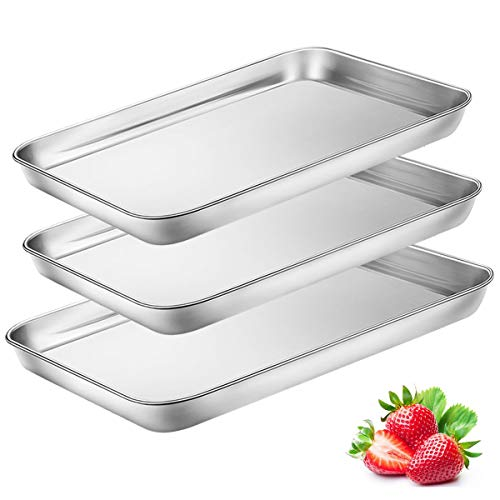 (Toaster Oven Tray Pan, 3PCS Small Cookie Sheet Stainless Steel Baking Trays by BYkooc, Dishwasher Safe Oven Pans,Heavy Duty, Mirror Finish, Anti-rust,10&9&9 inch)