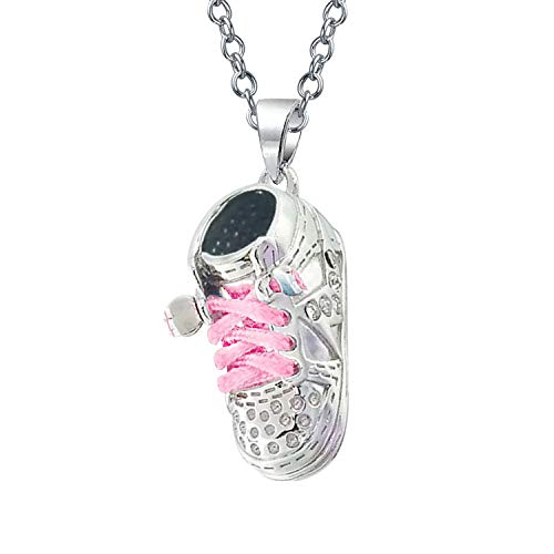 - Pink Laces Sneaker Baby Shoe Charm Engravable Pendant Necklace Gift For New Mother Women 925 Sterling Silver