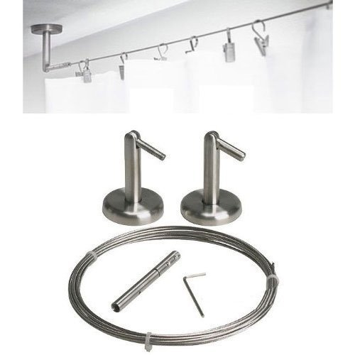 Curtain Wire Rod Set Stainless Steel, Multi Purpose, 16.5 Wire, 2 Mounting  Pieces  Ceiling Mount Curtain Rods