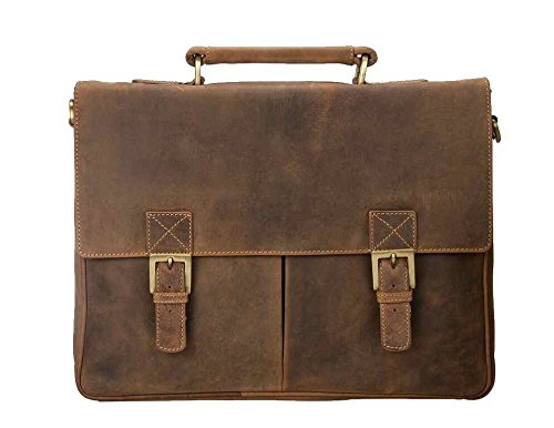 Visconti Visconti Berlin Leather Twin Buckle Briefcase With Detachable Strap, Tan, One Size