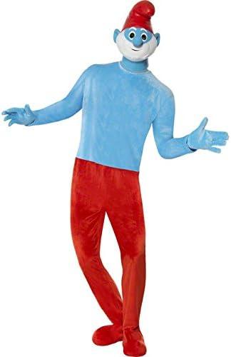 Papá Pitufo licencia Disfraz Pitufos Azul Rojo: Amazon.es ...