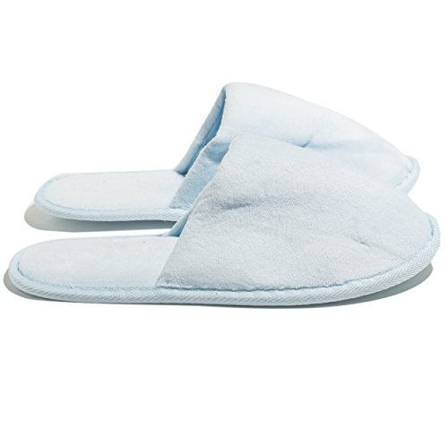 6 One Size Coloured Terry Velour SPA Slippers Sky Blue ehYDSH9M