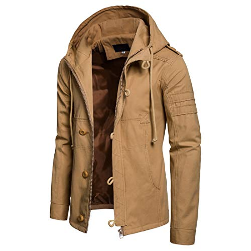 Men's Military Jacket Cotton Fall Winter Windbreaker with Hood Casual Army Coat