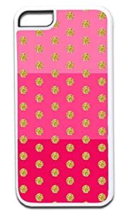 Colorblocked Stripes and Glitter PRINT Polka Dots (Pinks) - Case for the APPLE iphone 5c ONLY!!!-NOT COMPATIBLE WITH THE REGULAR iphone 5c!!!-Hard White Plastic Outer Case
