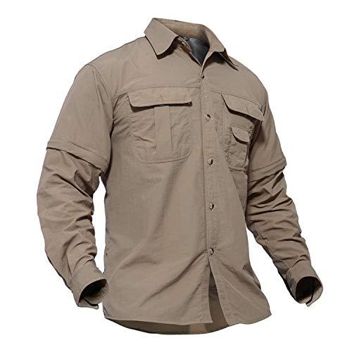 TACVASEN Mens Solid Convertible Zipper Sleeve Tactical Short Long Sleeve Shirt Khaki,US L/Tag 2XL