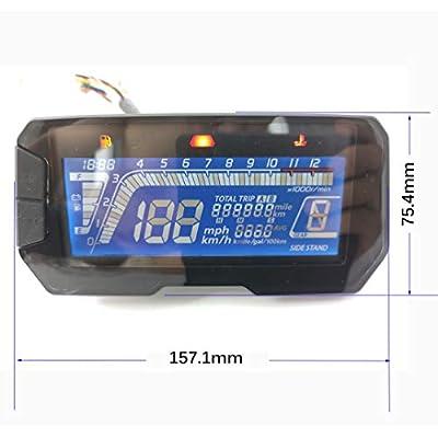 SAMDO Universal Motorcycle Speedometer Tachometer 199 Kmh Mph 12000RPM: Automotive