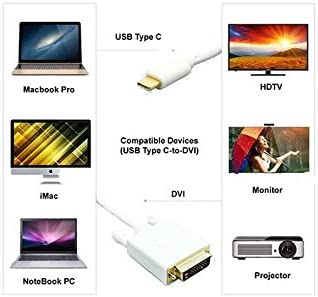 Huetron TM 3 Ft USB 3.1 Type C to DVI Male Cable for Huawei Mate 9 Porsche Design