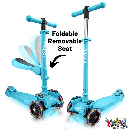 Kicsky Wheels Scooters for Kids with Seat Folding and Removable - 3 Wheel...