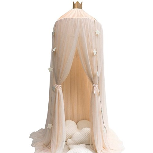 Didihou Mosquito Net Bed Canopy Yarn Play Tent Bedding for Kids Playing Reading with Children Round Lace Dome Netting Curtains Baby Boys and Girls Games House (Khaki)