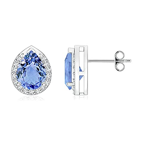 Mother's Day Gift - Diamond Halo Pear Shaped Tanzanite Stud Earrings in Platinum (8x6mm Tanzanite)