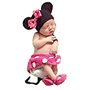 Pinbo Baby Photography Prop Cute Minnie Mouse Knitted Crochet Hat Dress Diaper Shoes