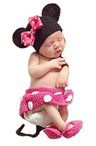 [Pinbo Baby Photography Prop Cute Minnie Mouse Knitted Crochet Hat Dress Diaper Shoes] (Minnie Mouse Outfit For Babies)