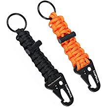 EDC Paracord Lanyard Keychains - 2 Pack of Survival Kit with Carabiner and Flint Great Gift For Girls and Boys Scouts,Outdoor Fans and Father Day