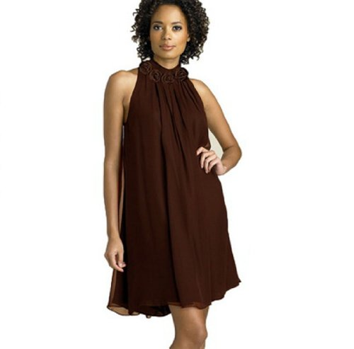Angel&Lily Halter Chiffon Party Cocktail Dress Brown Plus...