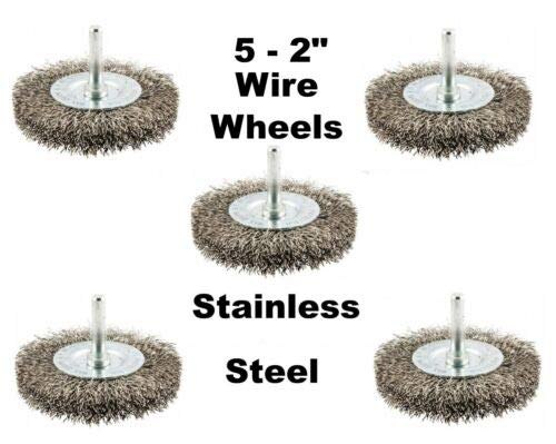 5 Pcs of 2 Crimped Stainless Steel Wire Wheel Brushes 1//4 Shank Die Grinder