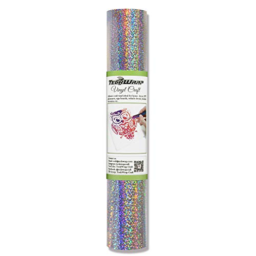 TECKWRAP Holographic Sparkle Adhesive Craft Vinyl,1ftx5ft,Silver