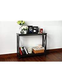 Espresso Finish 3 Tier X Design Occasional Console Sofa Table Bookshelf