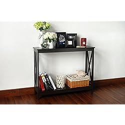 Espresso Finish 3-Tier X-Design Occasional Console Sofa Table Bookshelf