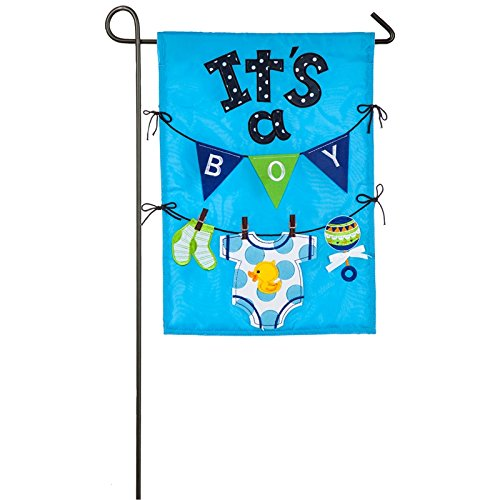 Evergreen It's a Boy Outdoor Safe Double-Sided Applique Garden Flag, 12.5 x 18 -