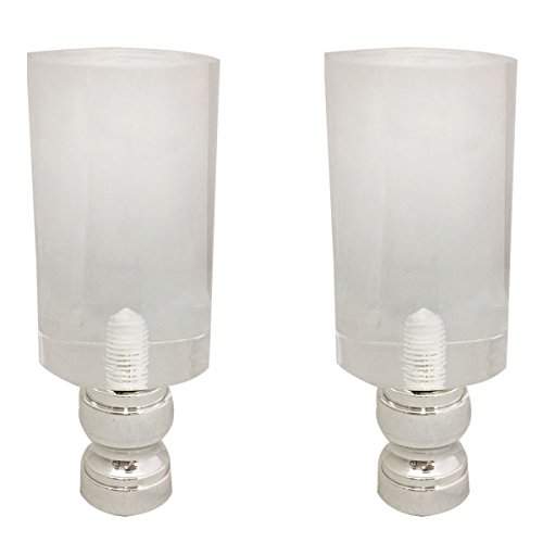 Royal Designs Tall Cylinder Clear Lamp Finial with Polished Silver Base - Set of 2