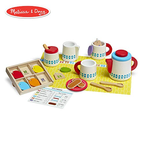 Melissa & Doug Wooden Steep & Serve Tea Set (Pretend Play, All-Wood Tea Service, Brightly Colored Tags, 12
