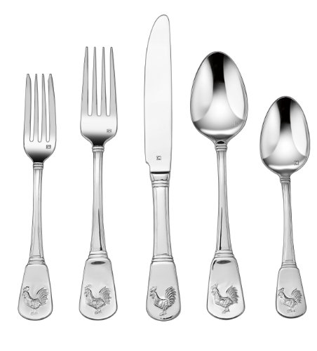 Cuisinart CFE-01-FR20 20-Piece Flatware Set, French Rooster (Unique Flatware)