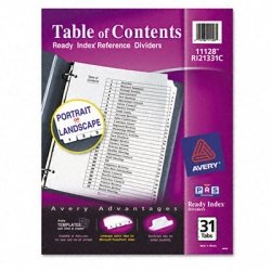 Avery Ready Index Classic Tab Titles, 31-Tab, 1-31, 8.5 X 11 Inches, Black/White, 31 per Set (3 Pack) by Avery