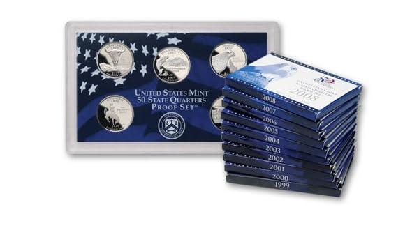 No Box//COA 10 Sets 1999-2008 Proof State Quarter Set-50 Clad Proof Quarters