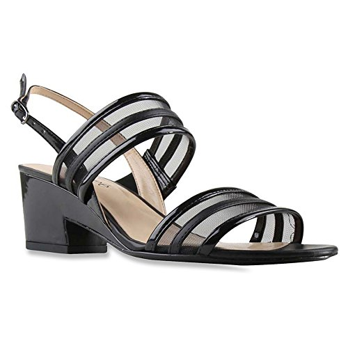 J. Renee Women's Erma Black Sandal 8 W (C)
