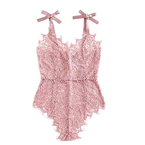 Floral Lace Tie - Dragon Honor Women's Ribbon Tie Shoulder See Through Floral Lace Bodysuit Sexy V Neck Bodysuit (M)